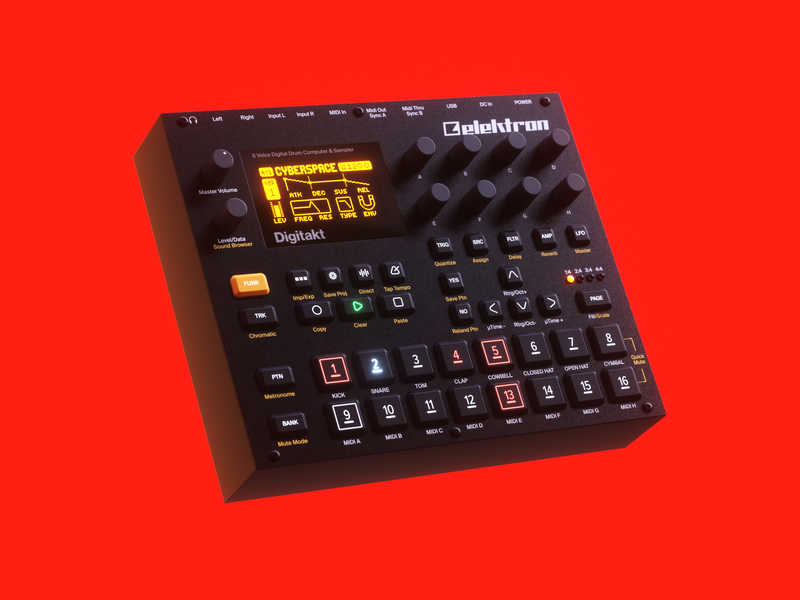 Elektron Digitakt 🥁 product render production drum machine elektron substancepainter cinema4d octane music tech music model 3d