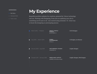 Experience page