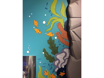 Storyplace Mural - Coral Reef childrens illustration interior art museum molotow acrylic paint painting coral reef muralart mural bubbles fish sea ocean coral hand drawn illustration