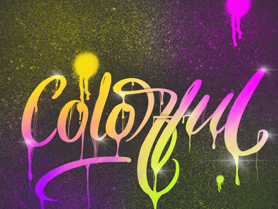 Colorful procreate ipad pro calligraphy lettering