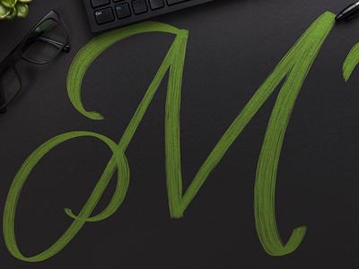 M / 36DaysOfType chalk calligraphy lettering procreate j 36days