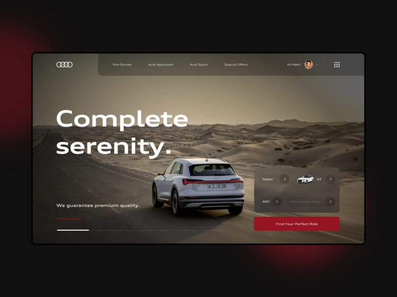 Landing page - Audi Middle East [1/3] user interfaces landingpage audi user interface user experience design web ux ui