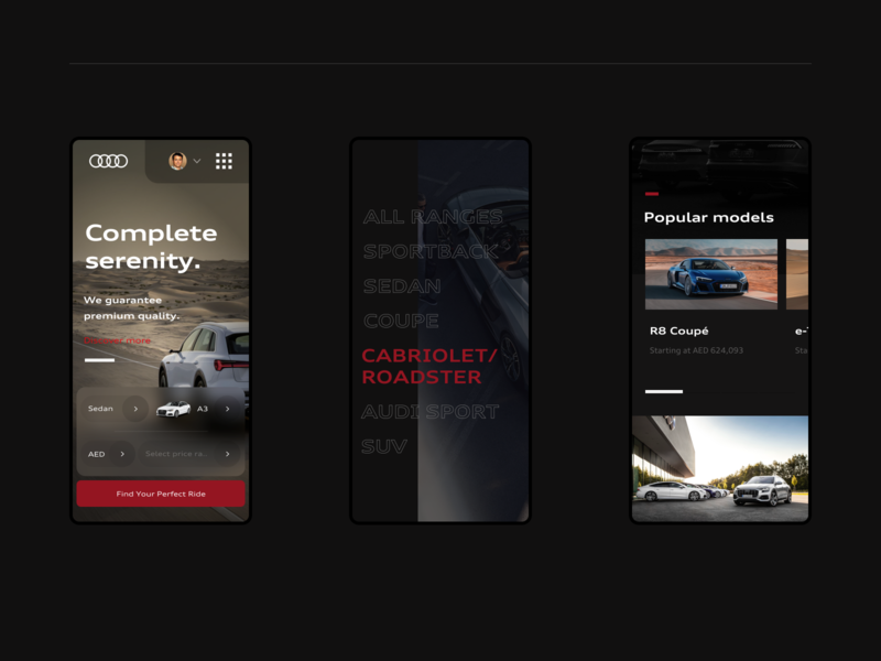 Home page mobile version - Audi Middle East [2/3] user interfaces user experience user interface responsive mobile middle east audi landing page design web ux ui