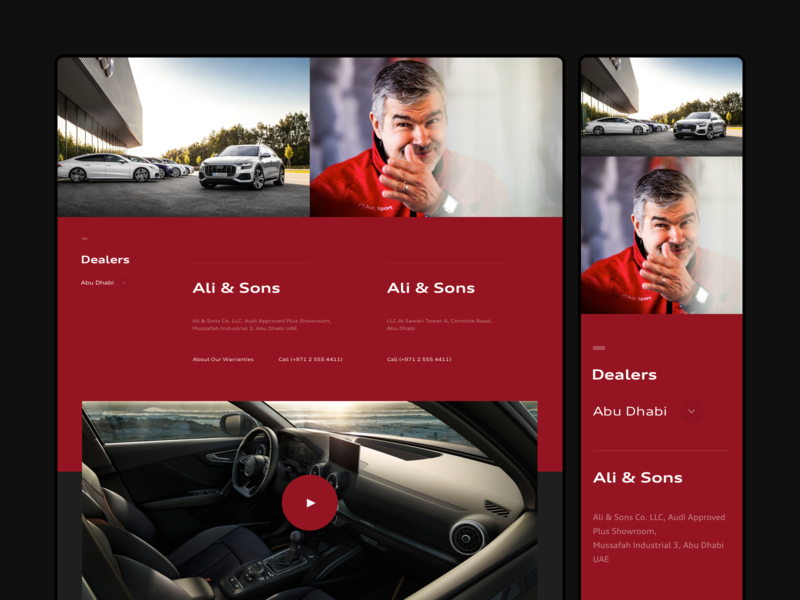 Dealers page - Audi Middle East [3/3] sketch simple landing page audi sport audi abu dhabi red user experience user inteface minimal design web ux ui