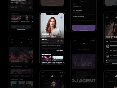 ID Booking App black deejay techno dj apple ios application app design app ux ui
