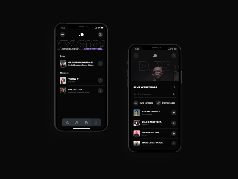 Notifications and Splitting Feature - ID Booking user interface minimal user experience ios app design apps friends booking gigs djs iphone ios app ux ui