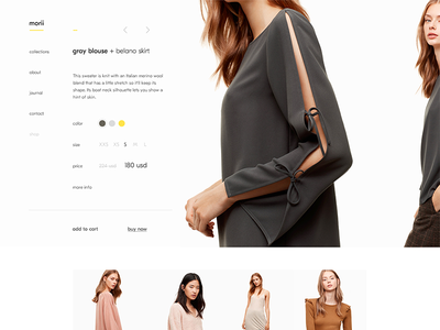 Morii Single Page ui yellow minimal clothes fashion women web ecommerce singlepage design morii