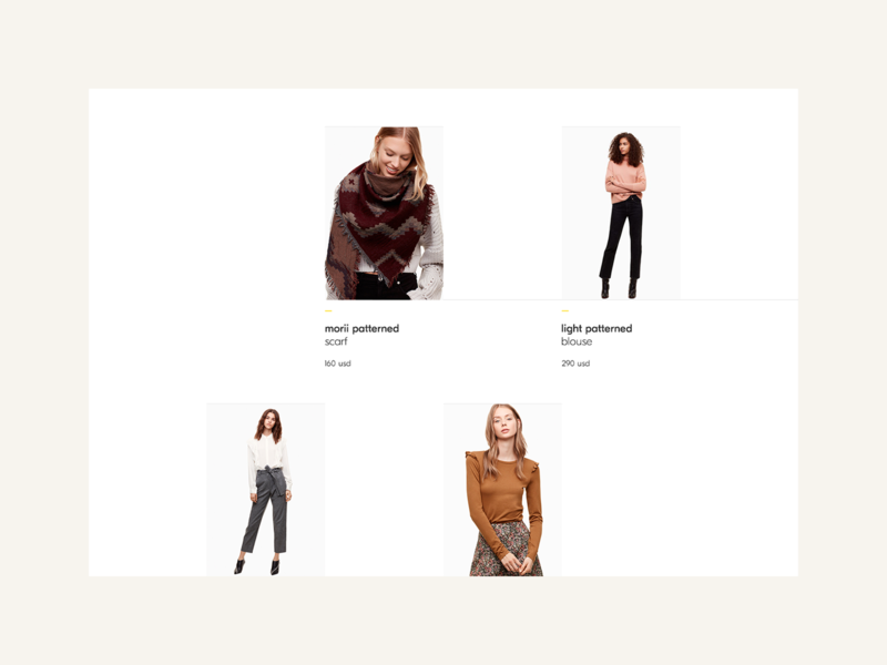 Morii Wear Website - Products 2 morii fashion clothing brand inspiration yellow minimal feminine ecommerce design ux web ui