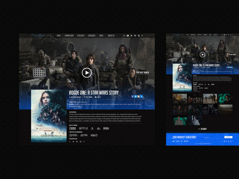 Front Row Entertainment Single Movie Page star wars movies front row inspiration design ux web ui