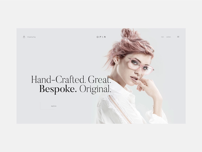 Opia Glasses Hero Animation animation opia fashion minimal inspiration feminine ecommerce design ux web ui