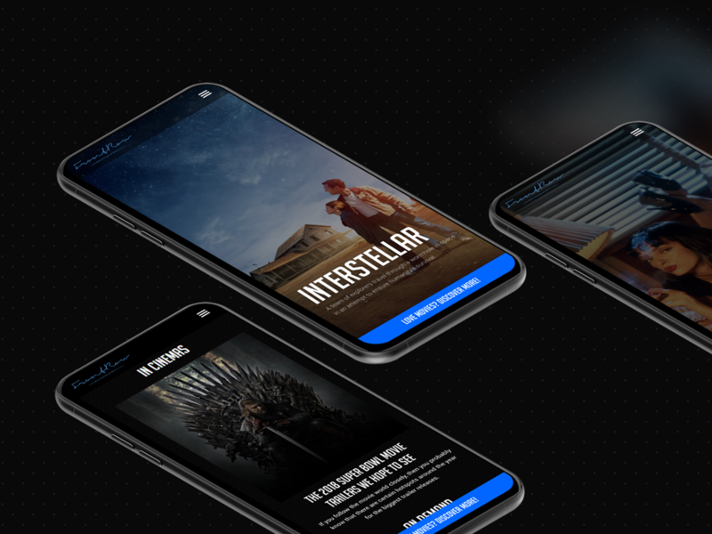 Front Row Entertainment Mobile Screens news interstellar movies blue black inspiration design ux web ui