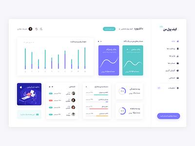 Persian Wallet Dashboard UI design web ui finance wallet admin panel admin dashboard ui dashboard rtl