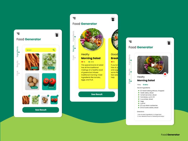 Food Generator App Design mobile app healthy cook meals food trends trending ui mobile design mobile app mobile ui