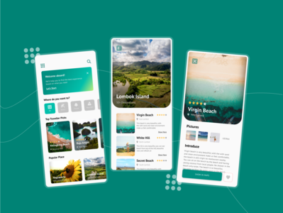 Travel Recommendation App Concept mobile app design mobile ui designs destination gradients recommendation travel app travel clean green design ui mobile app