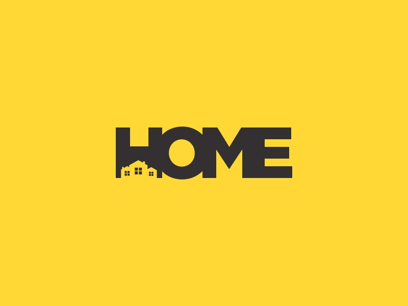 Home Negative Space Logo illustrator art clean icon app website profile identity company business professional modern illustration minimal flat branding vector logo design