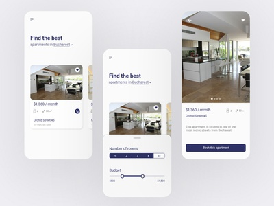 Simple app for renting apartments. apartments romania bucharest rental app appartment home rent rental renting mobile design mobile app mobile ui design uidesign uiux ui
