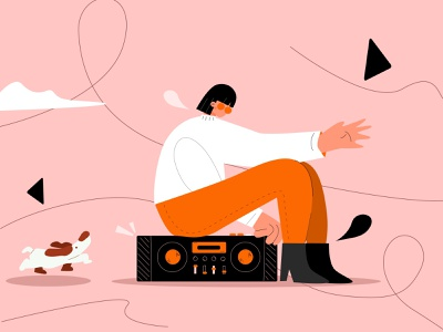 bored swag bored music boombox mixtape vector art dog person graphic vectornator vector design illustration