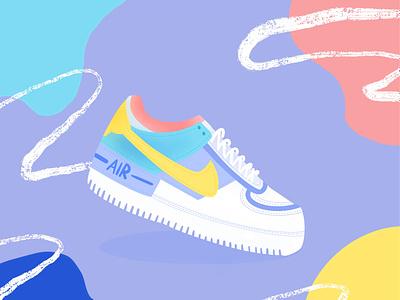 Nike Air brush colorful nike air nike shoes sneakers design illustraion illustrator