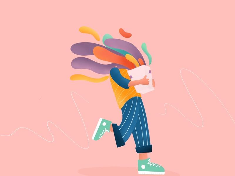 happy box happy fun colorful colors box procreate digital art drawing illustration dribble design