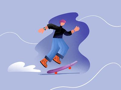 skater boi design dribbble illustration cloud orange purple blue rush fast fun skateboarding man boy skateboard skater skate
