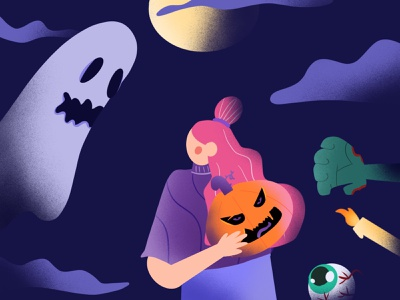 supermoon halloween! illustration horror creepy dark fire eyeball candle zombie moon ghost pumpkin halloween spooky season spooky dribbbleweeklywarmup