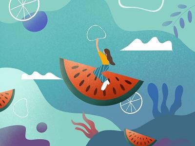 watermelon adventure illustration fun adventure riding ride fruits plants cloud bubble girl fly watermelon