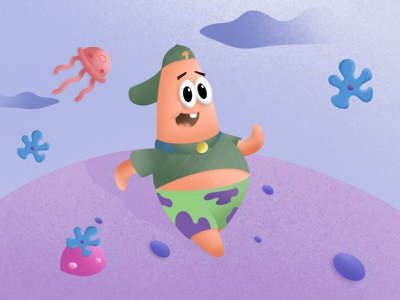 patrick on the run stone jellyfish flower spongebob squarepants spongebob starfish patrick star patrick