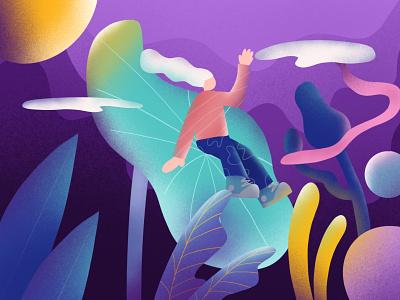 lost girl night yellow tosca blue purple moon girl lost adventure wonderland leaves brushes illustration design