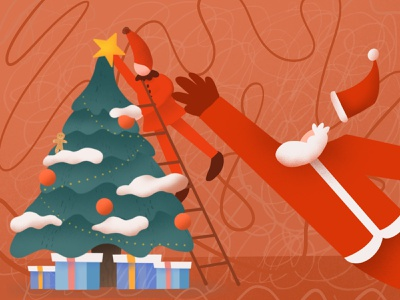christmas🎄 panic tree snow cloud star naughty christmas vibes stair gifts presents gingerbread man ginger santa claus santa christmas tree christmas