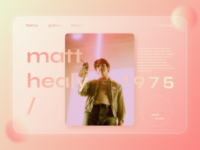 the 1975 indie band the 1975 modern blur gradient pink aesthetic glassmorphism home page home landing page website ui web design