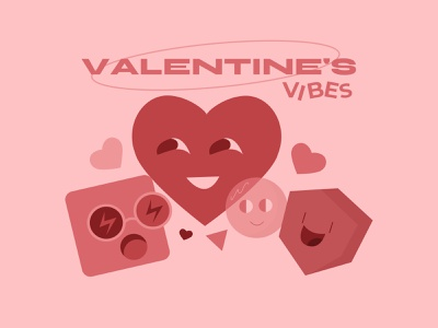 valentine's vibes 14 february dribbbleweeklywarmup illustration letter flirt happy pink love valentine valentine day vibes mood