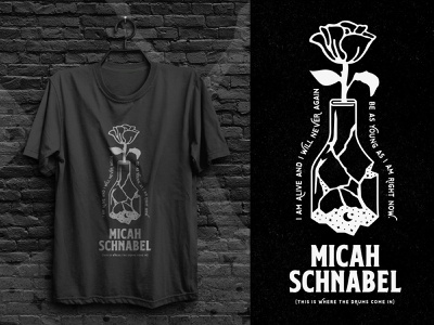 Micah Schnabel - Memory Currency Shirt dream shattered flower moon bottle lyrics illustration 1 color stars