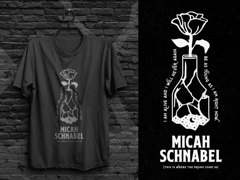 Micah Schnabel - Memory Currency Shirt dream shattered flower moon bottle lyrics illustration 1 color stars