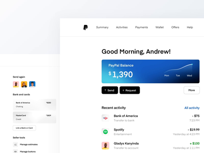 PayPal Dashboard Concept ux ui transactions money sending mobile banking web app online bank money transfer payment concept redesign finance bank account balance money paypal dashboard fintech banking
