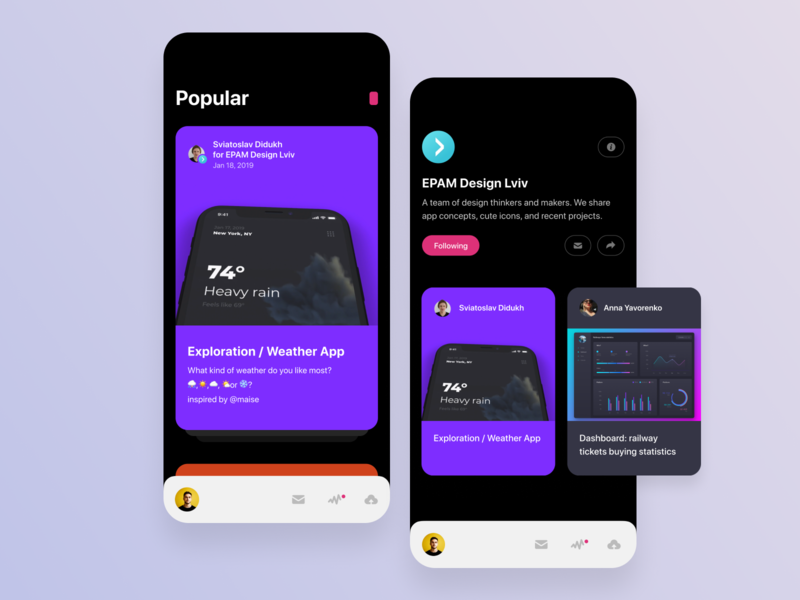 Dribbble app concept app ui  ux typography interface interaction creative dribbble design