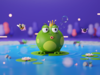 Frog - 3D Animal Collection 3dblender 3d render character illustration character design character bee frog animal cycles blender b3d
