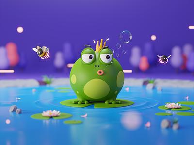 Frog - 3D Animal Collection 3dblender 3d render character illustration character design character bee frog animal cycles blender b3d