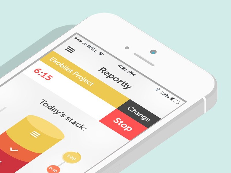 Reportly - Time Tracking App mobile ios flat time tracking design ux