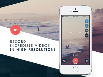 Basecam - Record Videos mobile flat design ios7