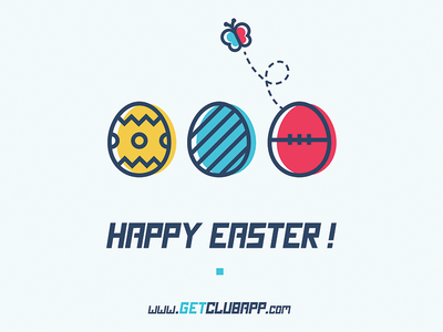 Happy Easter - getclubapp.com mobile app football butterfly spring easter eggs