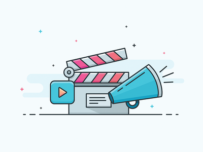 Illustration - Movie video film clapperboard play outline movie vector icon illustration