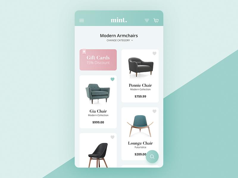 Mint modern furniture store app by arkadiusz p atek Furniture app