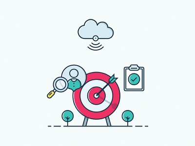 Customer Profiling Illustration cloud check task target dart internet wlan wifi user customer