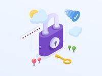 Set password - Isometric illustration