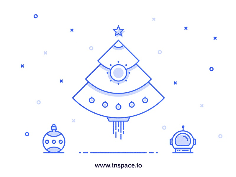 Merry Christmas astronaut night stars lights christmas rocket tree space