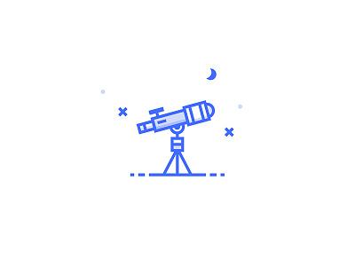 Telescope Icon inspace stars cosmos space moon night telescope