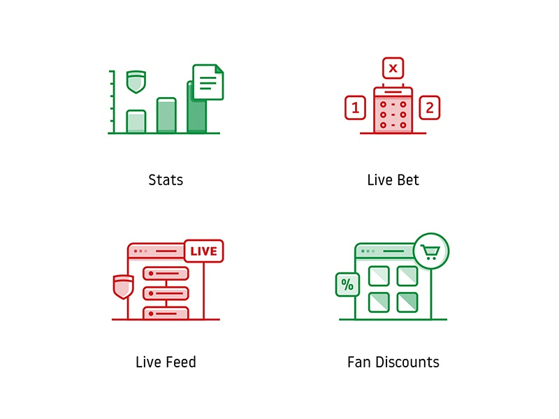 Soccer Club Icon Set lineart illustrations icons fan discount store shop live betting bet ball stats