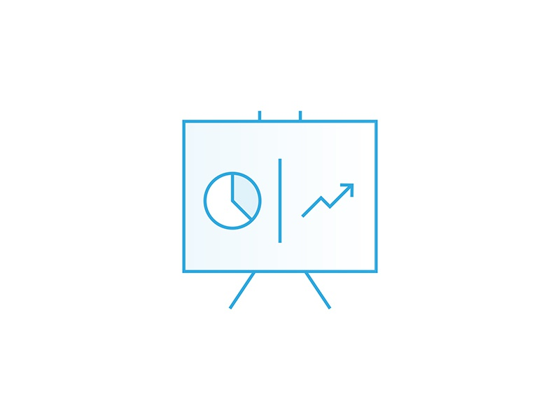Statistic Icon illustration lineart roi growth board report stats