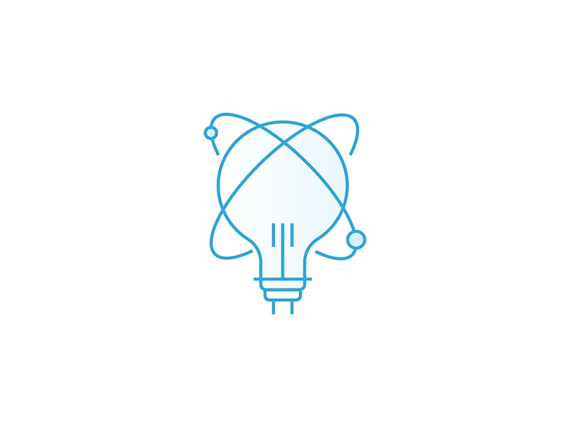 Innovation Icon clean lineart innovation planets bulb