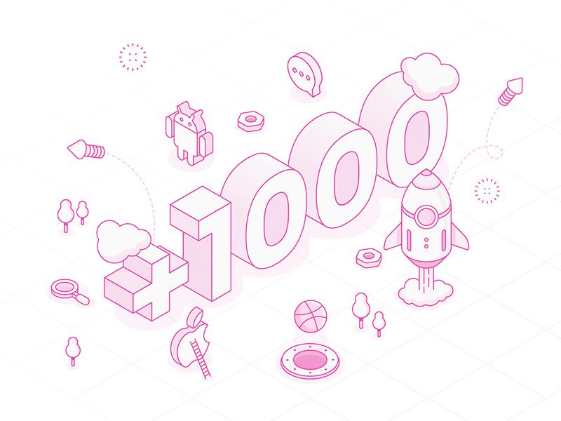1000+ Followers | Thank You! follow illustration isometric thanks followers dribbble
